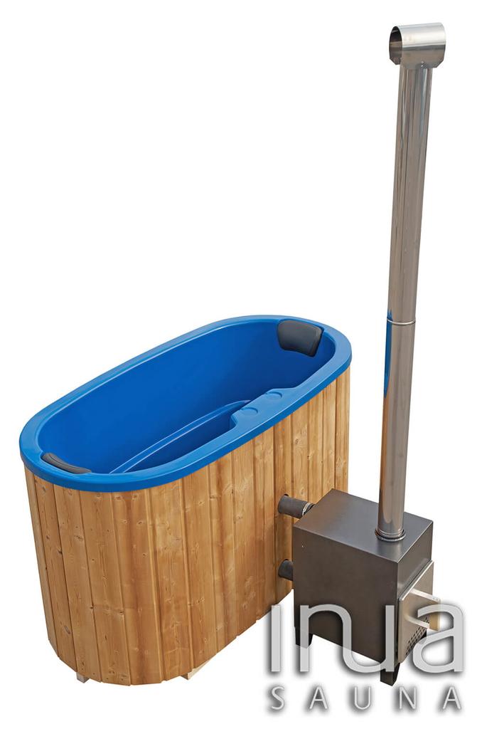 Ovális fürdődézsa üvegszálas belső borítással, külső kályhával.