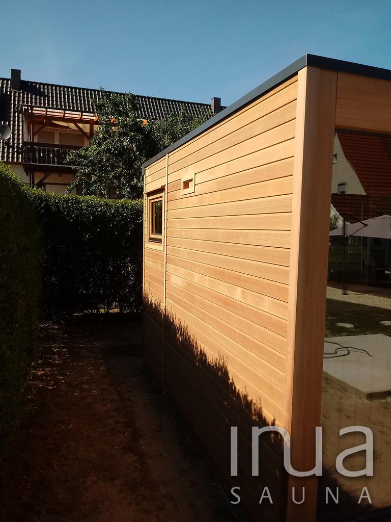 A szauna pihenőjében finn rezgőnyárfát alkalmaztunk, míg a szaunában Thermowood nyárfa faanyagot használtunk.
