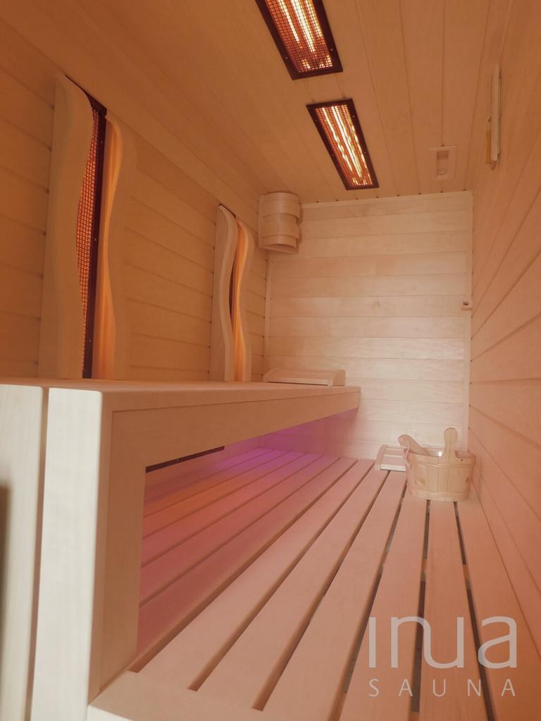 Egyedi kültéri kombinált szauna, rezgő nyárfa burkolattal és hőszigetelt ajtóval!