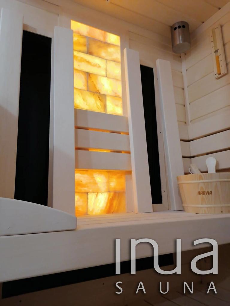 Egyedi beltéri kombinált szauna egy igazán impozáns Harvia Glow szaunakályhával.