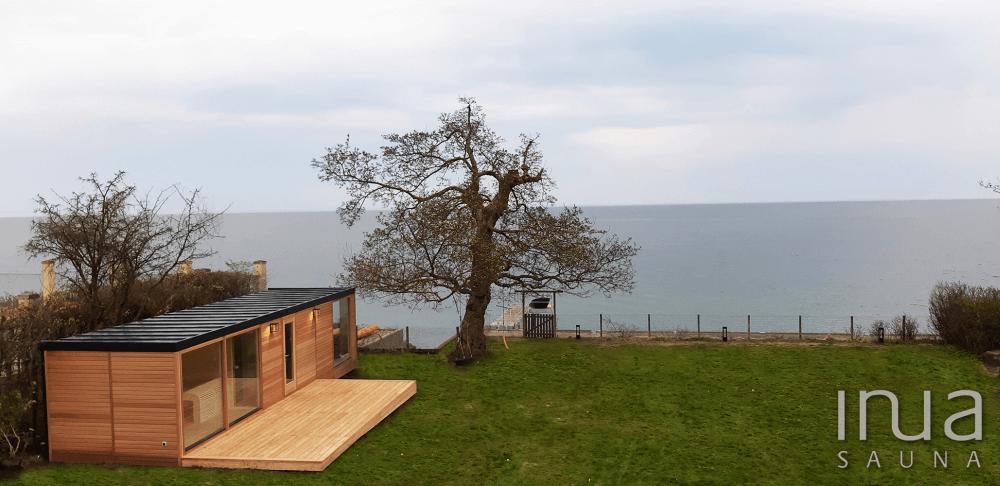 Egyedülálló kültéri kombinált szaunaház a Dániai tengerparton
