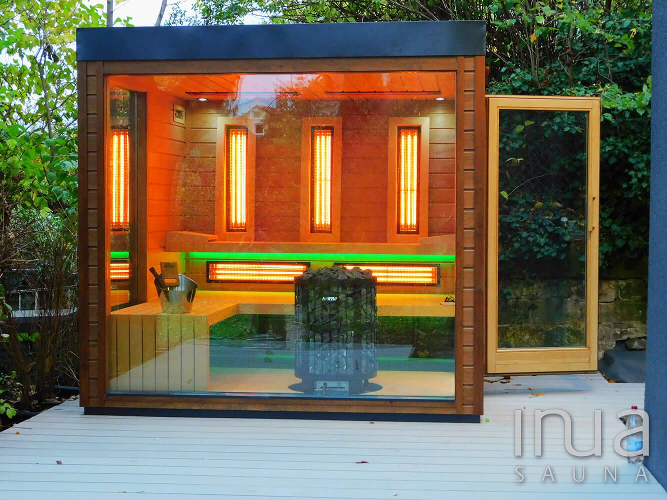 Kültéri kombinált szauna a családok számára, panoráma üveggel. | Inua Szauna Kft.
